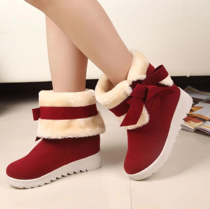 2016 New Arrival Hot Sale Women Boots Solid Bowtie Slip-On Soft Cute Women Snow Boots Round Toe Flat with Winter Shoes AA264 #>=#>=#>=#>=#> Click on the pin to check out discount price, color, size, shipping, etc. Save and like it!