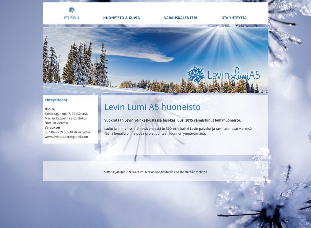 Levin Lumi A5 huoneisto sai uudet kotisivut Kotisivukoneen Avaimet käteen -palvelun avulla.