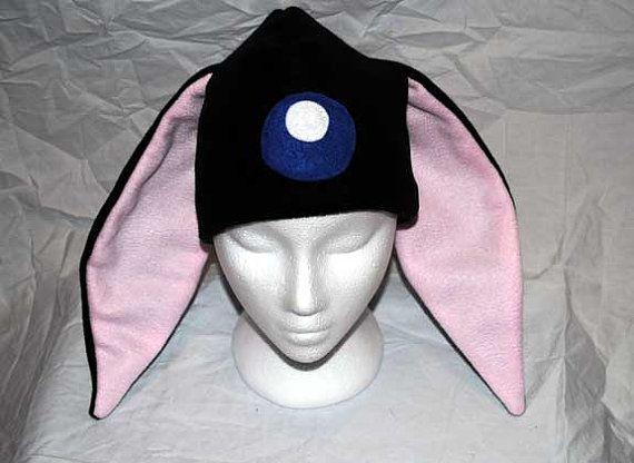 d81bc39da Fleece Winter Hat Black Mokona Modoki Larg Bunny Rabbit Cosplay ...