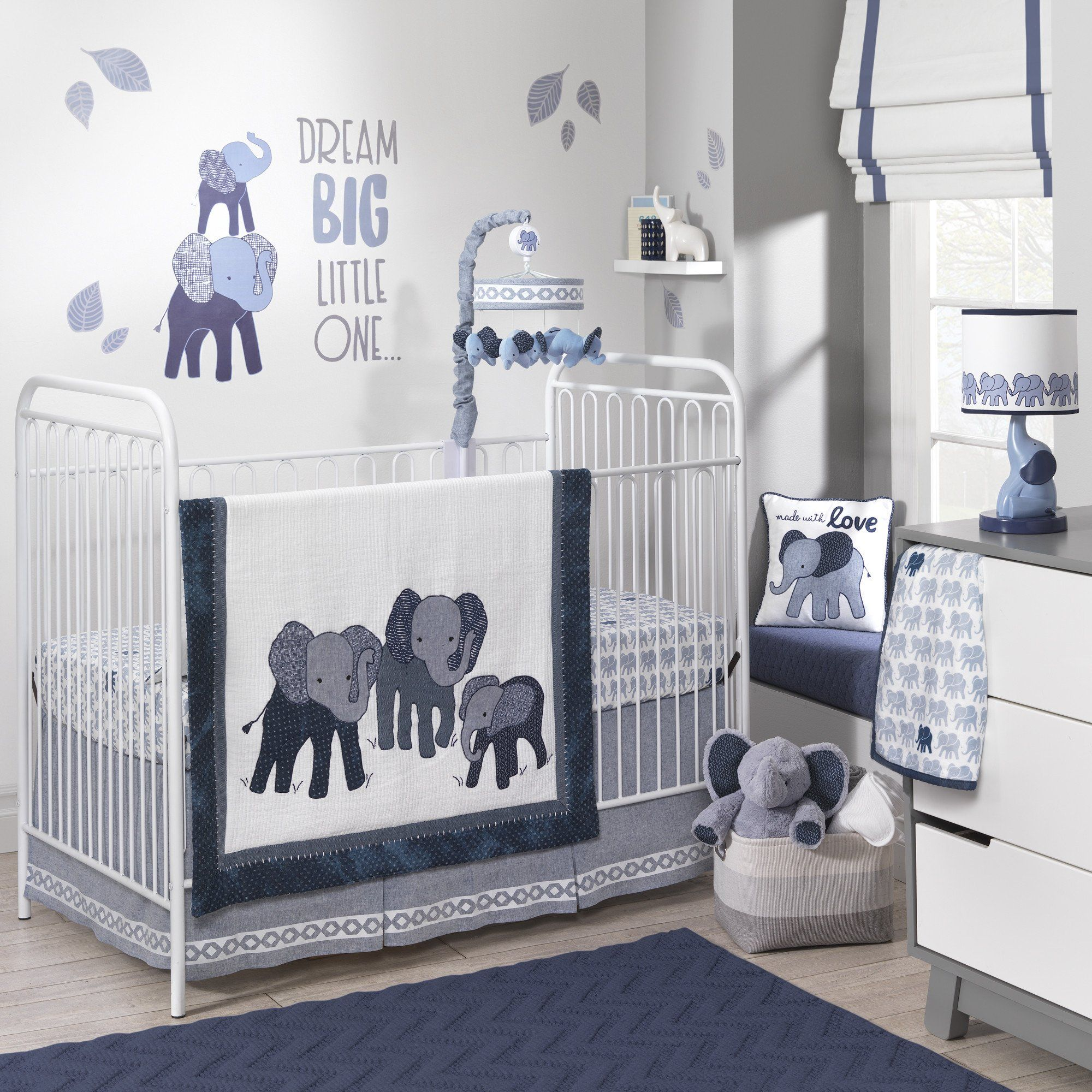 Harriet Bee Rollins 3 Piece Crib Bedding Set: Indigo 3-Piece Crib Bedding Set. Lambs & Ivy