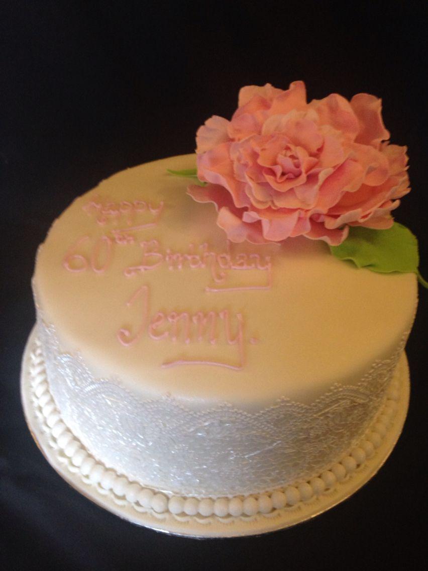 Flower trimmed birthday cake Happy birthday Jenny My Cakes