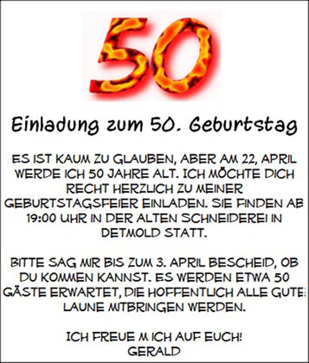 Einladung Zum 50 Geburtstag Text Di 2020