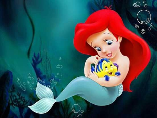 Baby Ariel And Flounder With Images Little Mermaid Wallpaper