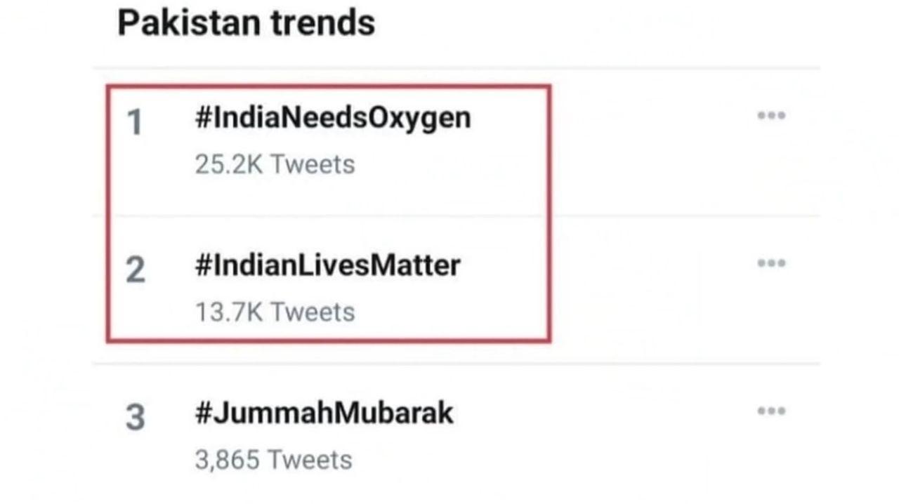 Social Media Trend in Pakistan #IndiaNeedsOxygen #InidanLivesMatter #PakistanStandWithIndia