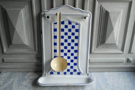 Lustucru Email Porte Ustensiles De Cuisine Bleu Vintage Blanc A