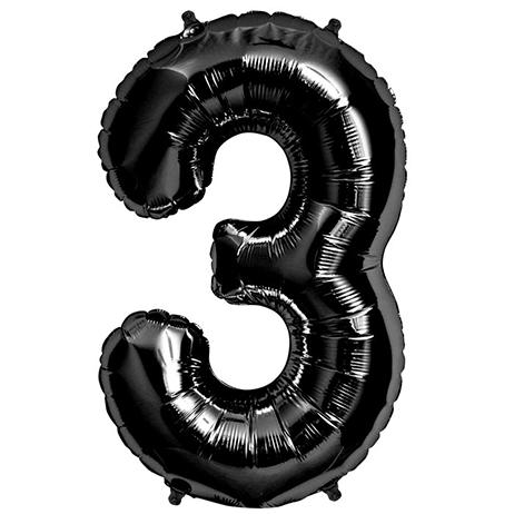 Ballon Anniversaire Chiffre 3 Noir 90 Cm Black Balloons Number Balloons Balloons