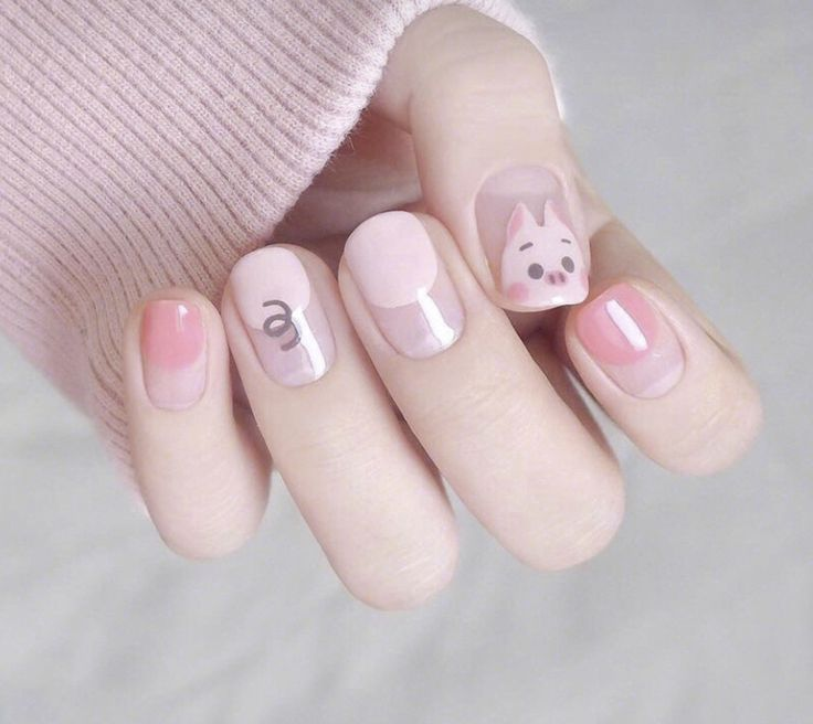 Cute pink pig nails art|34 cute short nails designs in 2020
