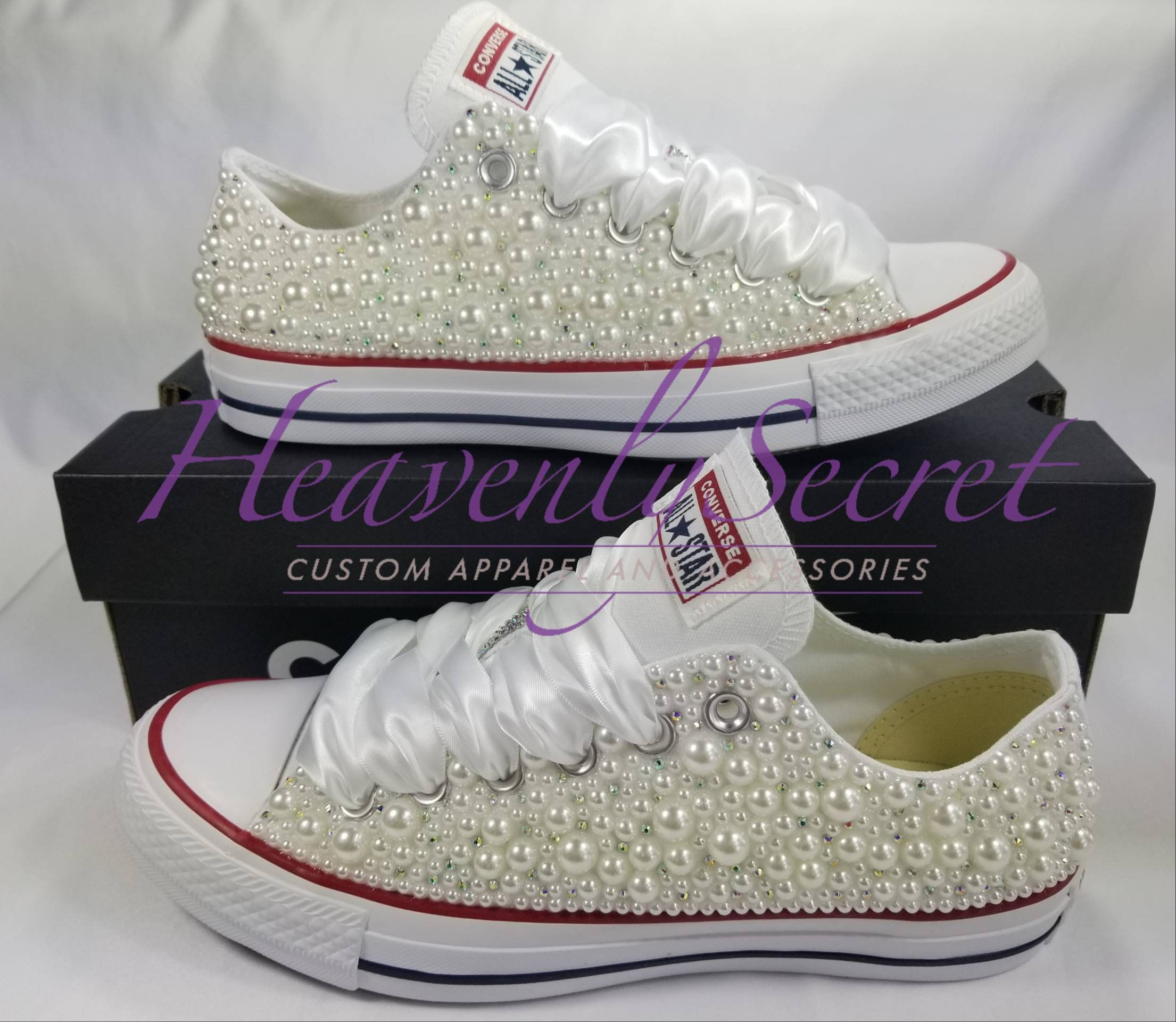 Wedding Custom Bling Low Top Converse All Star** White