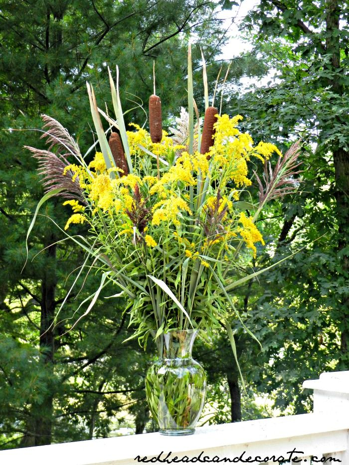 Free Cattail & Goldenrod Centerpiece Tall floral