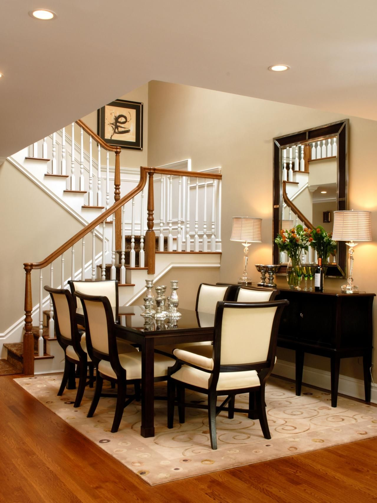 Dining Room Dark Romantic: This Stylish Dining Room With Dark Brown And Cream Accents