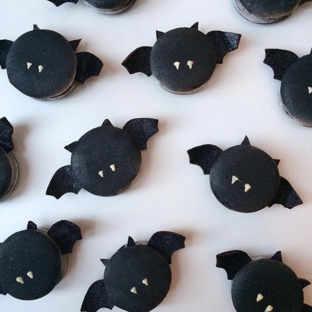 Bat macarons! in the bakery #halloween #baking #halloweenmacarons