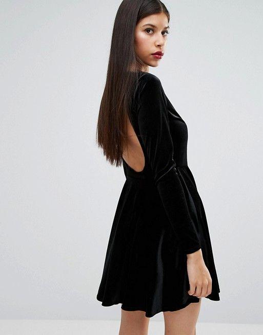 Boohoo Velvet Open Back Skater Dress  a1925410b