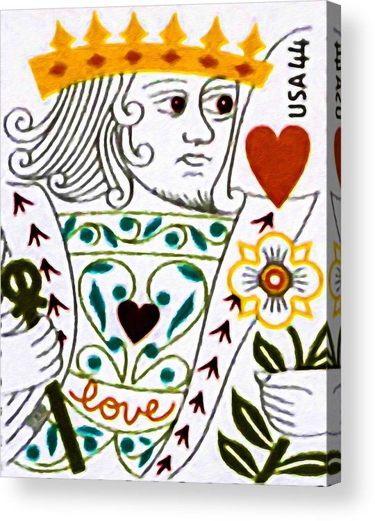 King Of Hearts Acrylic Print By Jeelan Clark Stamps