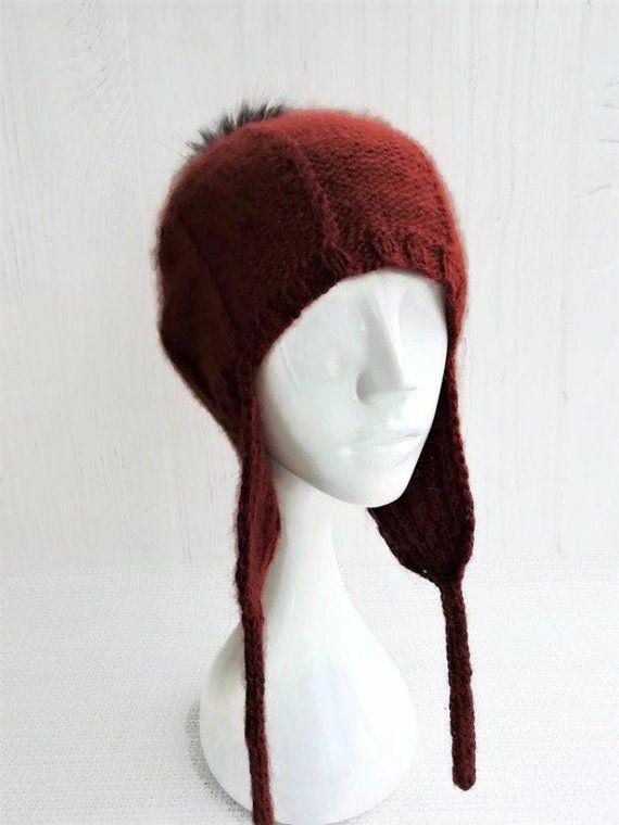 Knit aviator beanie hat covers ears - Beanie with ear flaps women - Wool  ski hats 8da80a4dc5e