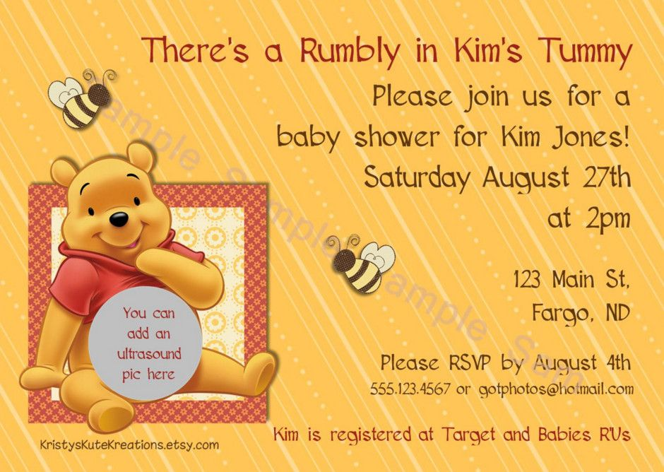 winnie the pooh baby shower invitation wording | diaper shower ...