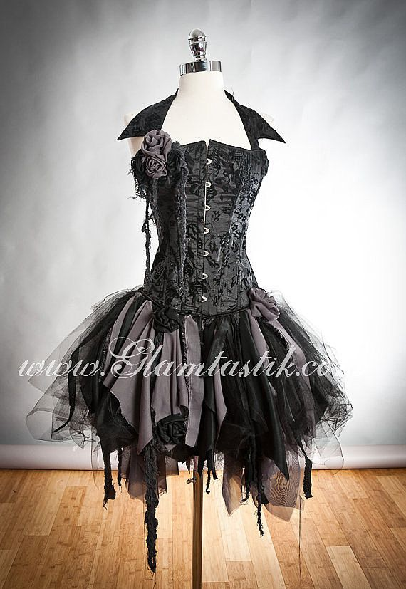 Custom Size black and gray Burlesque zombie corset dress with collar Available in small to XL. by Glamtastik on Etsy https://www.etsy.com/listing/161043311/custom-size-black-and-gray-burlesque