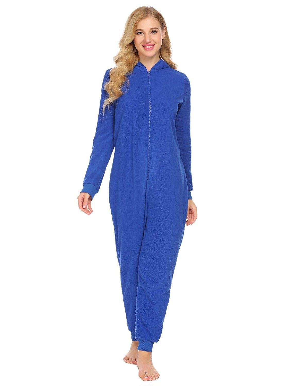 aea10b34be Women Onesie Pajamas Long Sleeve Hooded Solid Fleece Playsuit ...