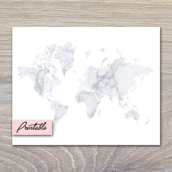 White Marble World Map - PRINTABLE White marble and Marbles - copy world map pdf file