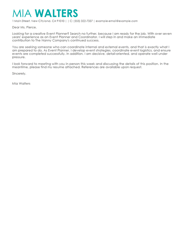 Best Event Planner Cover Letter Examples Cover letter