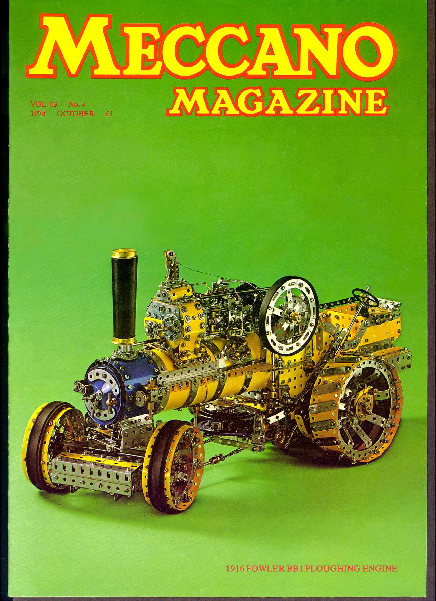 Ploughing engine in the cover of a  Meccano Magazine of the 70's