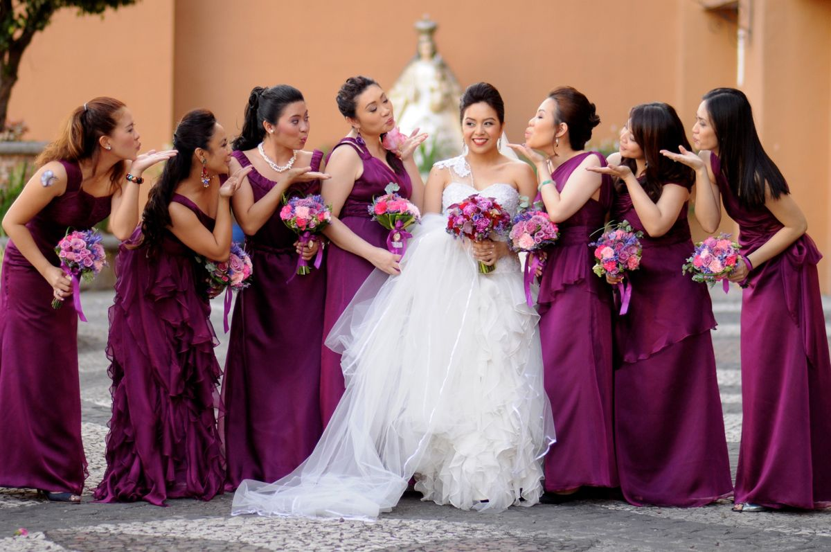 Magenta braidsmaid dresses with my lovely bridesmaids in their