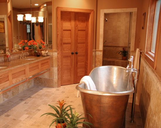 Warm paint color with oak trim bathroom for the home - Bathroom paint colors with oak cabinets ...