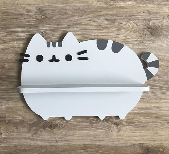 Decorative Wall Shelves For Cats : Pusheen cat shelf wall kids room decor wooden