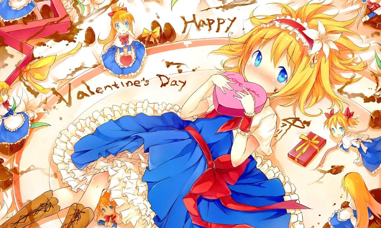 Valentine Day Wallpaper Anime Touhou Doll Shanghai Alice Margatroid Valentines Day Chocolate Cake Gift Blonde Blue