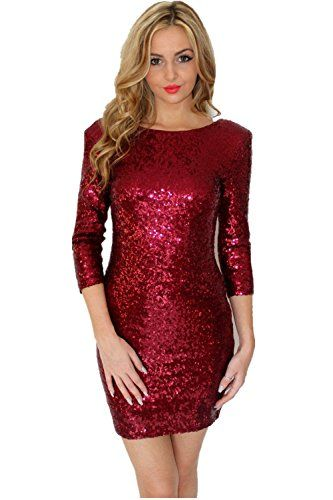 6a68e6edfd1 Glitzy Glam Sequin Sparkle Dress – Fully Lined With 3/4 Sleeve (4 Colors)