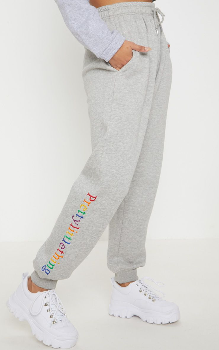 PRETTYLITTLETHING Grey Multi Embroidered Joggers ...