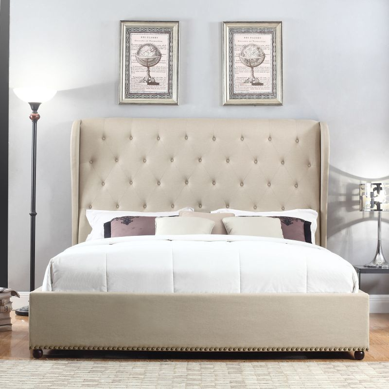 Paris King Size Fabric Bed Frame W Buttons In Beige Fabric Bed