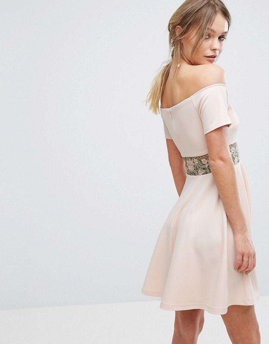 New look embroidered bardot mini dress beige products