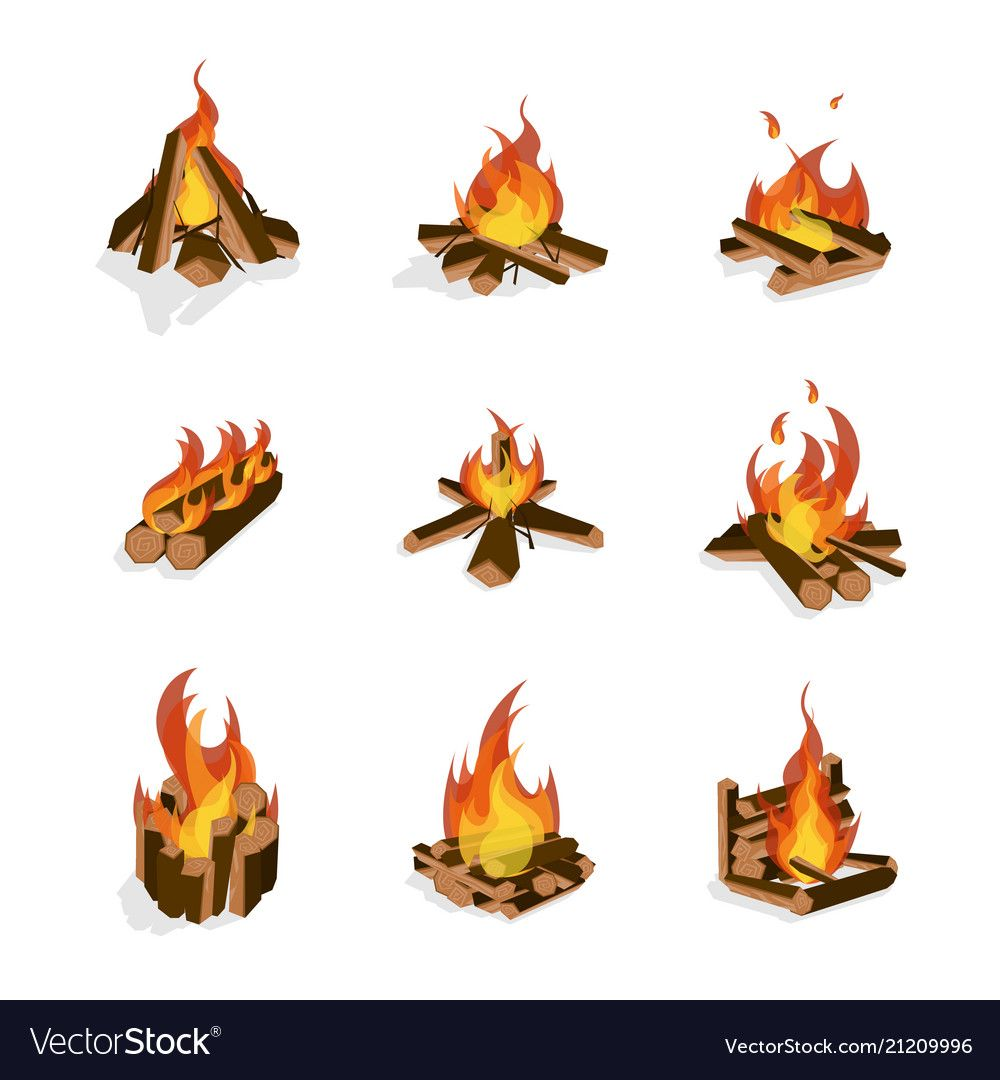 Cartoon Fire Wood And Campfire Set Bonfire And Firewood Concept Flat Design Style Different Types Vector Illustration Campfire Drawing Campfire Fire Drawing