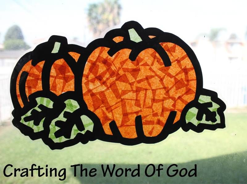 Pumpkin Sun Catcher - Instructions Print the template onto card