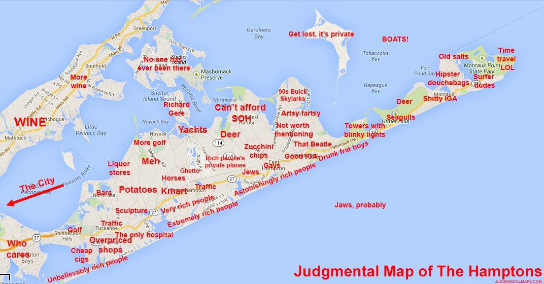Hamptons New York Map.The Hamptons Ny By Anonymous Judgmental Maps Copr 2014 All Rights