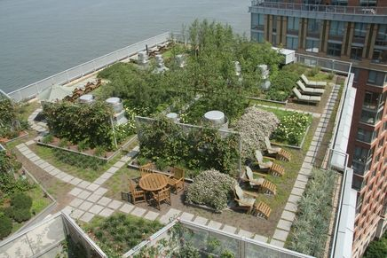 Battery Park City rooftop.   It was the first building designed to meet the new environmental guidelines instituted in 2000 by the Battery Park City Authority. Designed to consume 35% less energy, the building includes rooftop gardens and a vegetated roof that corresponds to 57% of the site area. The gardens contain bamboo, perennials and other self-sustaining shrubs. www.thebattery.org