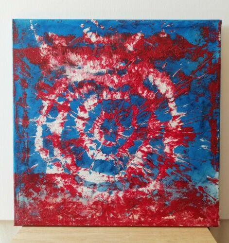 gemalde blau rot weiss moderne kunst ol auf leinwand 50x50cm handgefertigt ebay art painting abstract malerei kunstdrucke