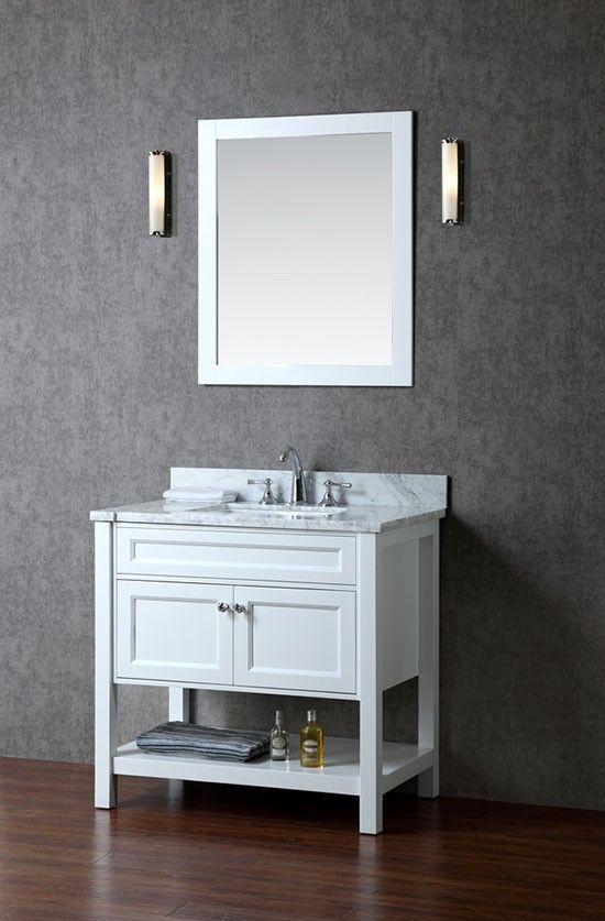 Ariel Mayfield (single) 36-Inch Transitional Bathroom Vanity Set - Alpine White