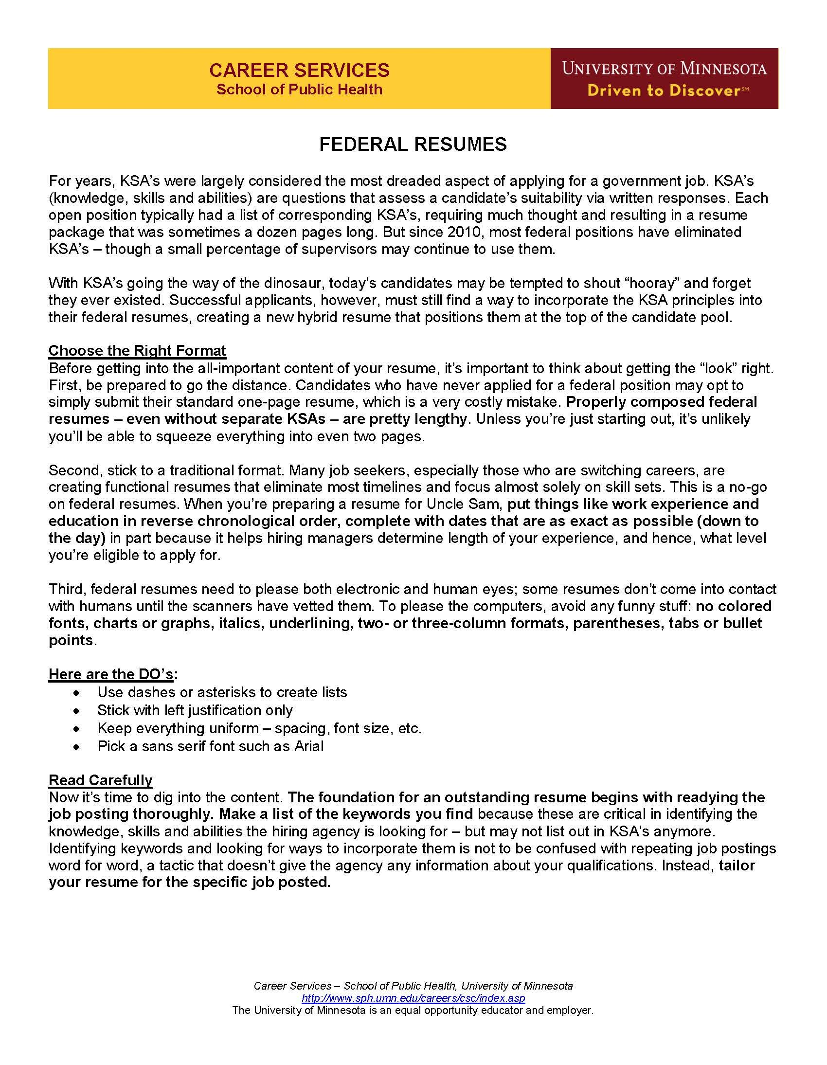Master Resume Writer Federal Resumes Page 1 Resume Guide Federal Resume Career