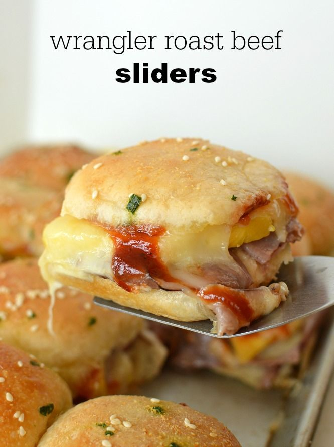 Wrangler Roast Beef Sliders - an easy recipe to make! They are sweet, savory, and cheesy! Just right for lunch! #RhodesBread #DinnerRolls #ad