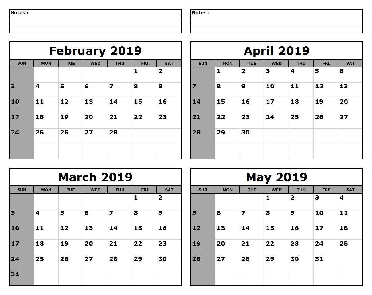4 Months Calendar February To May 2019 Template November 2018