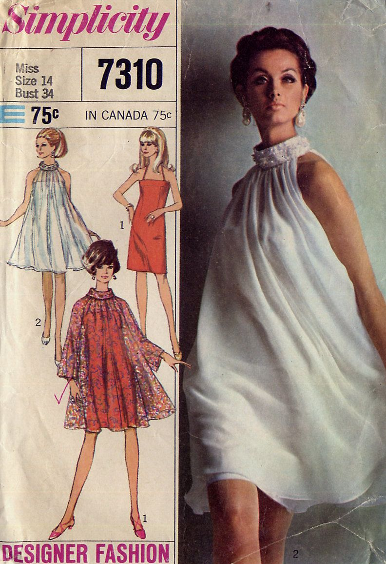 Vintage 1960s Mod Cocktail Dress Pattern Simplicity 7310