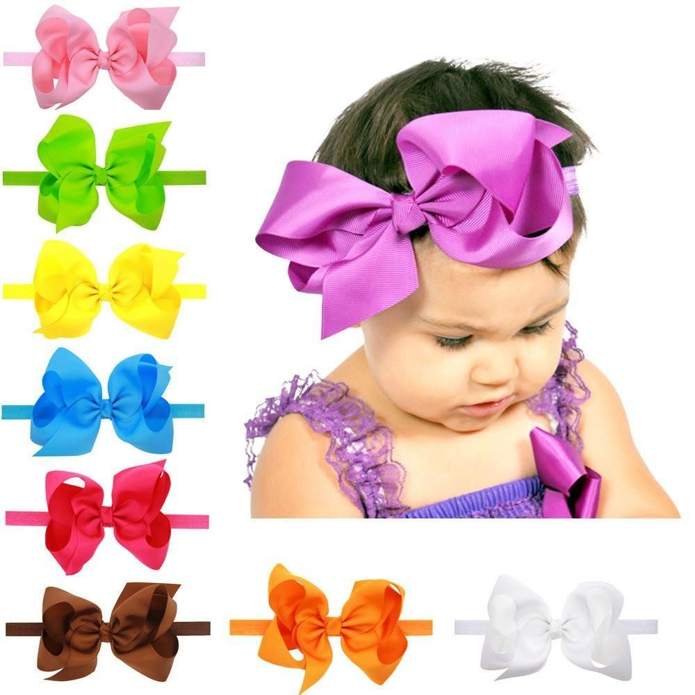 Baby Kids Headband Hairband Grosgrain Ribbon Bow Hair Accessories One Size
