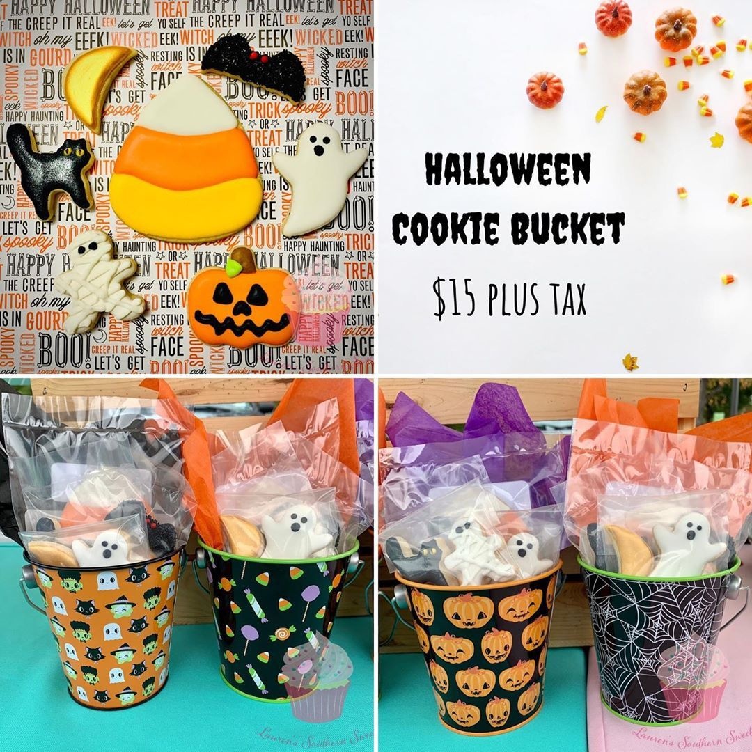 Halloween sugar cookies are available now! These are perfect for a special Halloween treat and make a great gift 🎃 . Options available: 🧡Halloween Cookie Bucket: includes one standard size cookie and six minis 🖤4-Pack Cookie Sets: includes 4 standard size cookies; two set options . . Contact me to place your order! Pickup times available through the end of October; minimum 48 hours notice needed. Email LaurensSouthernSweets@ for any inquiries. . .