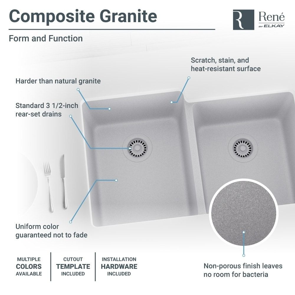 René By Elkay R3-1001-CGS Offset Double Bowl Composite Granite ...