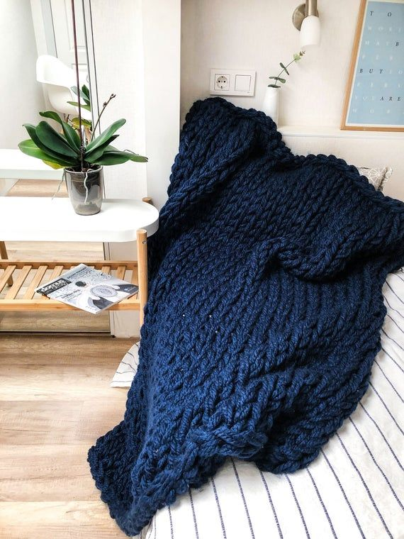 Photo of Navy blue giant knitted blanket, Blue bulky knit throw of different sizes and colors, Hand knitted t