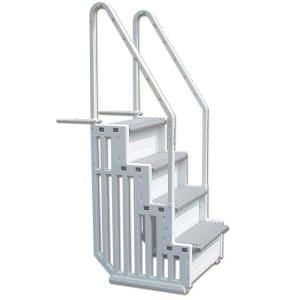 Confer Plastics 1 Step Staircase Style Above Ground Pool Steps Step 1 The Home Depot Pool Steps Swimming Pool Steps Above Ground Pool Ladders