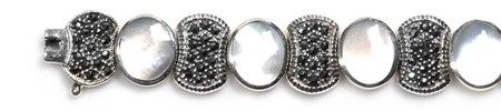 Vintage Inspired Mother of Pearl and Black CZ Silver Marcasite Bracelet