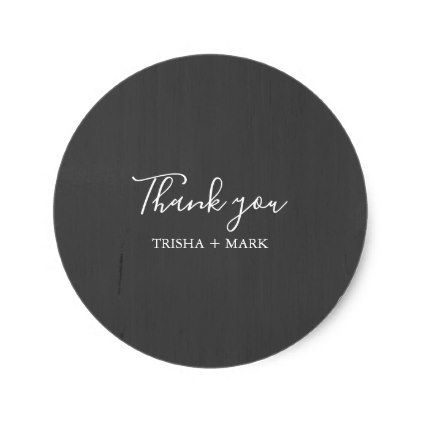 Modern gray thank you wedding classic round sticker round stickers and wedding