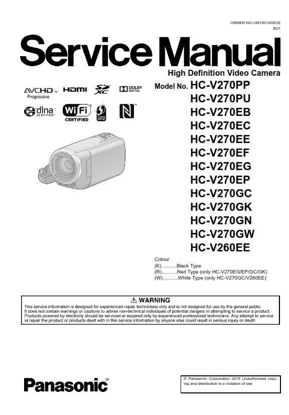 Panasonic Hc V270 V260 Camcorder Original Service Manual